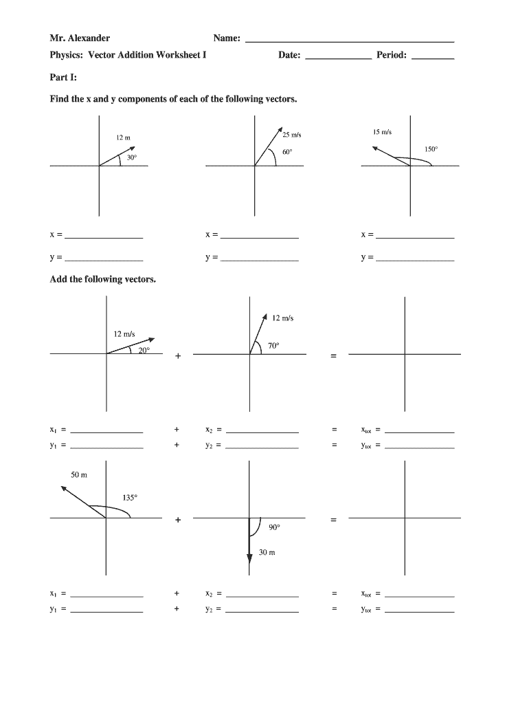 Mr Alexander Physics Vector Addition Worksheet Fill