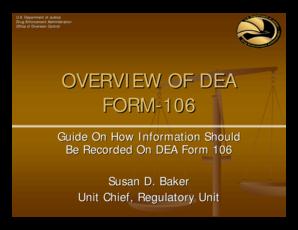 Fillable Online deadiversion usdoj Overview of DEA Form 106 ...