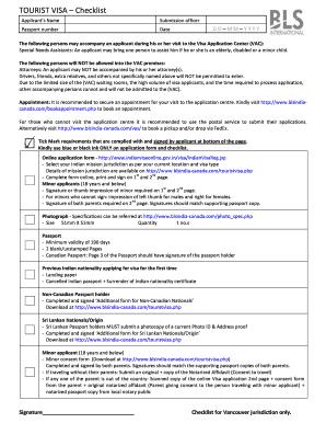 Tourist Visa Checklist (Vancouver Only) - BLS International