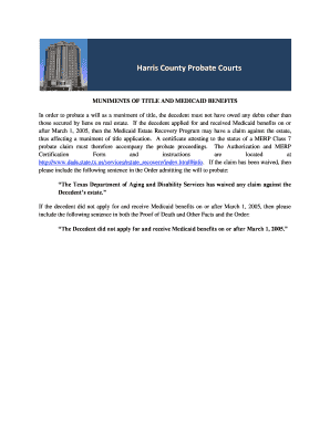 Muniments Of Title And Medicaid Benefits Harris County Fill Online