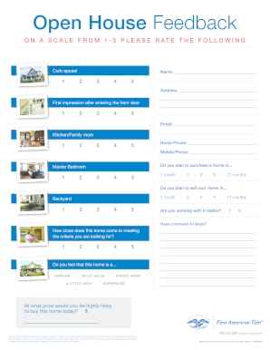 Striking image within free printable open house feedback form