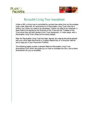 REVOCABLE LIVING TRUST Amendment Printable Form.