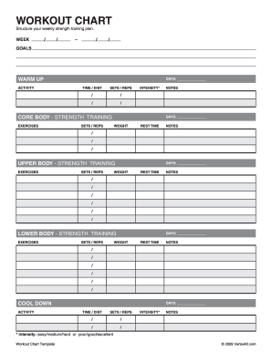 Workout log templates forms fillable printable samples for Weight training log template