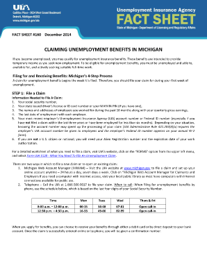 Fillable Online michigan Fact Sheet 160, Claiming Unemployment ...