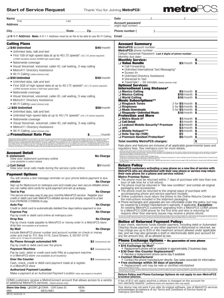 Metropcs Start Of Service Form Fill Online Printable Fillable Blank Pdffiller