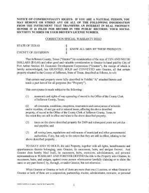 community interest special warranty deed texas
