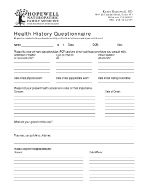 new patient health history form template - Fillable & Printable ...