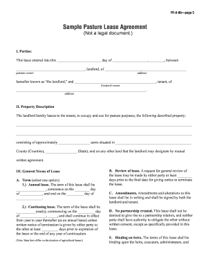 Pasture Lease Agreement Form