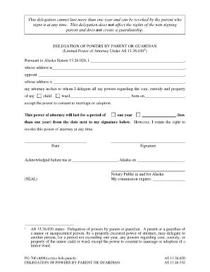 Bill Of Sale Form Alaska Statutory Power Of Attorney Form