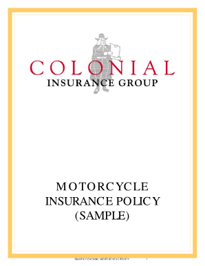 MOTORCYCLE INSURANCE POLICY (SAMPLE)