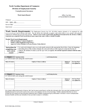 Unemployment job log form