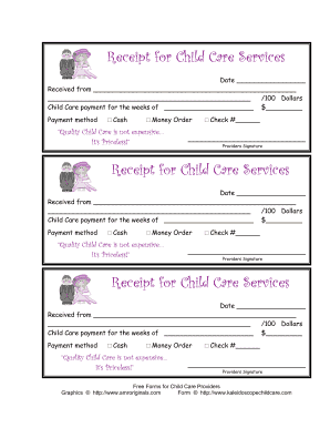printable child care receipt