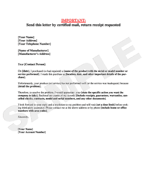 Sample Letter - Warranty Complaint.pdf - arlegalservices