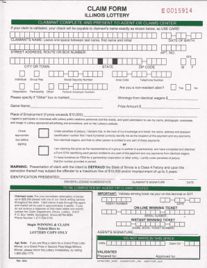 nj lottery claim form Illinois Lottery Claim Form - Fill Online, Printable, Fillable ...
