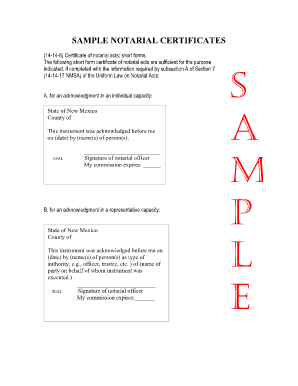 Notarial Certificate Sample - Fill Online, Printable, Fillable ...