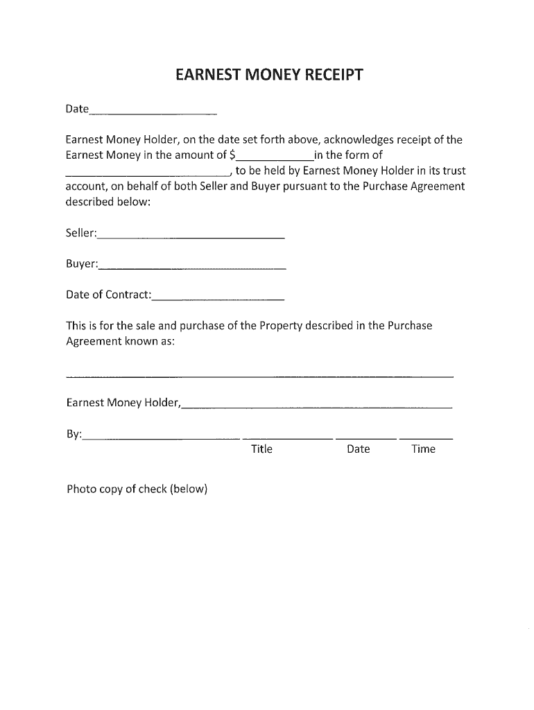 earnest money deposit form  Earnest Money Contract - Fill Online, Printable, Fillable ...