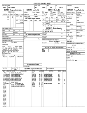 enlisted record brief form Fill Online, Printable, Fillable template ...