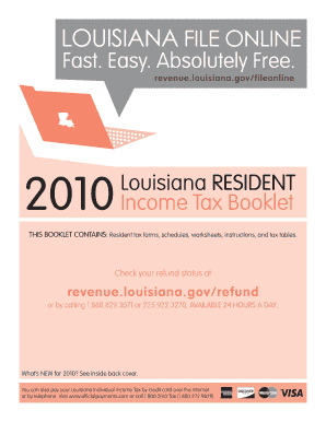 2012 louisiana resident income tax booklet form