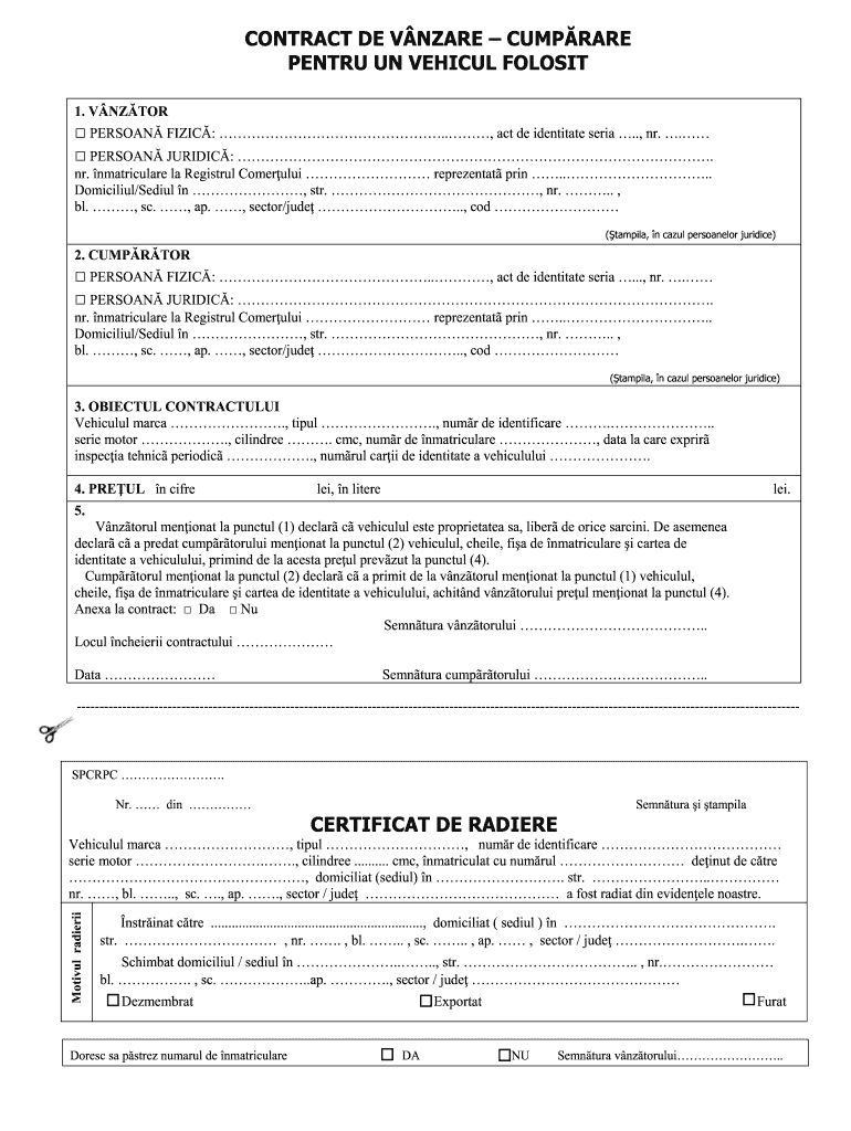 Contract Vanzare Auto Fill Online Printable Fillable Blank Pdffiller