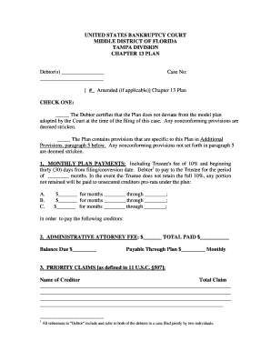 florida chapter 13 plan form