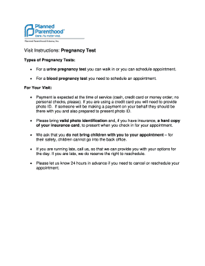 Proof Of Pregnancy Form Planned Parenthood Fill Online Printable