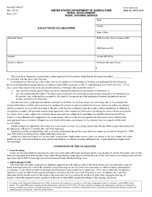 Fillable Online forms sc egov usda LOAN NOTE GUARANTEE Fax Email ...