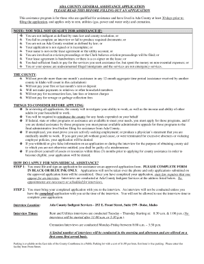 ADA COUNTY GENERAL ASSISTANCE APPLICATION