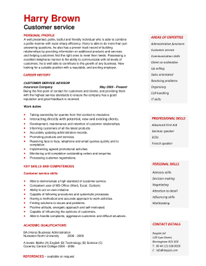 resume profile for customer service