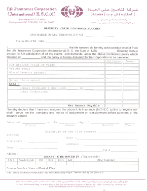 Lic India Maturity Claim Discharge Form Voucher