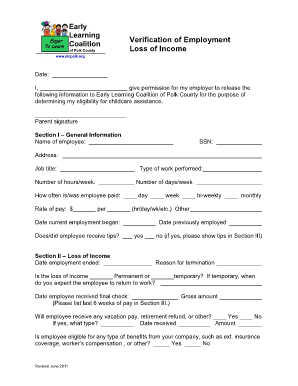 Verification Of Employment Loss Income Form Fillable Online