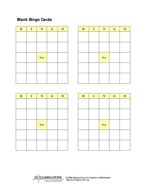 blank bingo cards fill online printable fillable blank pdffiller