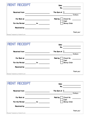 Rent Receipt Form. Printable Rent Receipt Form