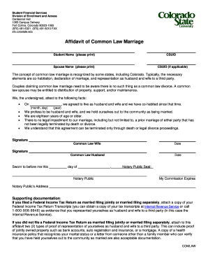 Affidavit Of Common Law Marriage   Colorado State University   Wsnet  Colostate