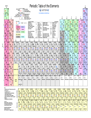 Element chart forms and templates fillable printable samples for periodic table of the elements color color version of the periodic table of urtaz Choice Image