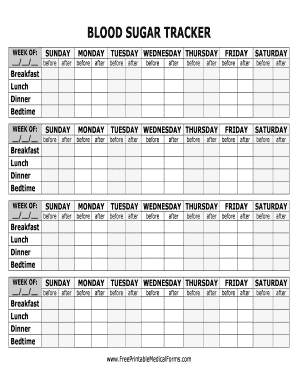Free Printable Medical Forms: Blood Sugar Tracker Large Print