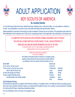 image regarding Boy Scout Oath and Law Printable referred to as Boy Scouts Of The us Grownup Volunteer Fillable - Fill On the web