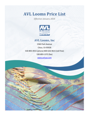 Fillable Online AVL Looms Price List Fax Email Print - PDFfiller