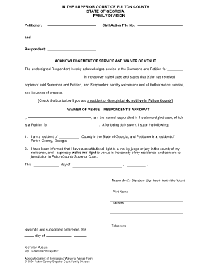 Georgia Waiver Of Service Form
