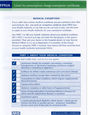 Fillable online p92a claim for prescription charge exemption rate this form altavistaventures Image collections
