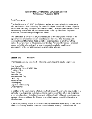 Fillable Online Diocesesacramento Addendum To Lay Personnel - Texas employee handbook template