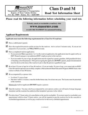Road Test In Ma Information Sheet - Fill Online, Printable