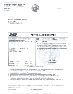 Fillable online motor carrier permit glova link fax for California dmv motor carrier permit