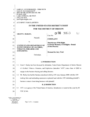 Complaint Filed In Federal Court   Fights 4 Rights   James Leuenberger  Civil Complaint Template