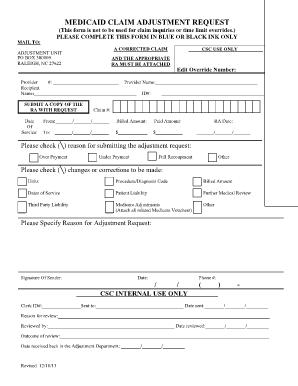 Fillable Online nctracks nc Claim Information/Adjustment Request 151 Form ( ) - Anthem ...
