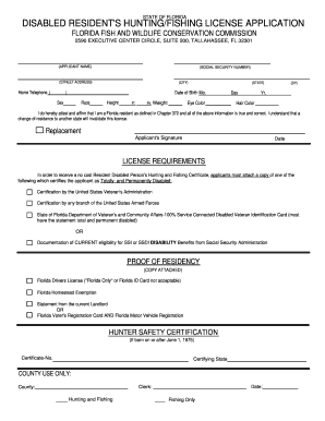 State disability application to download in word pdf for Fl fishing license