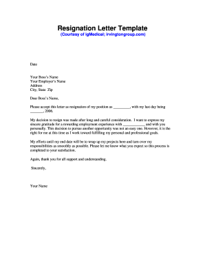 Fillable online resignation letter template igmedical fax email fill online expocarfo Choice Image
