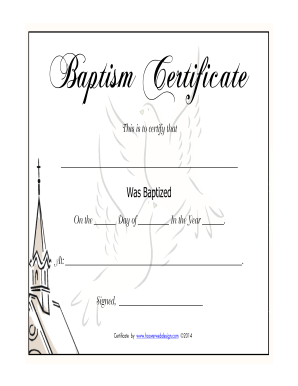 printable baptism certificate template - baptism certificate fill online printable fillable