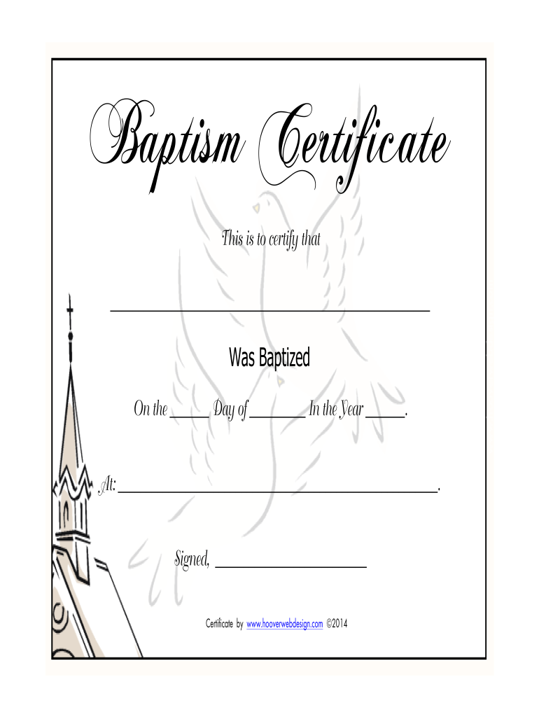 photo regarding Free Printable Baptism Certificates named Baptism Certification - Fill On-line, Printable, Fillable