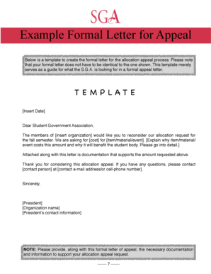 Example Appeal Letter - albright