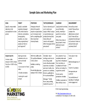 Sample Sales and Marketing Plan - Good Egg Marketing